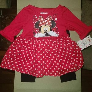 Minnie Mouse dress with leggings